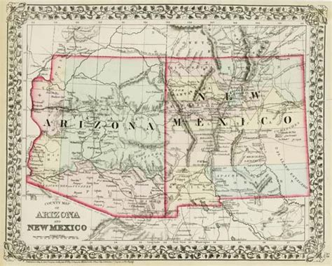 map of arizona new mexico map 89 county map of arizona and new mexico