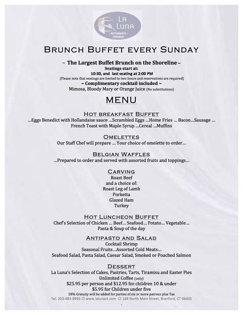 breakfast buffet menu la luna ristorante italiano branford ct brunch
