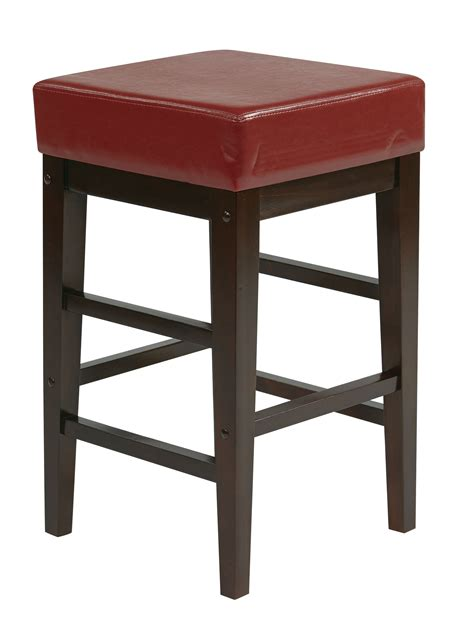 25 Inch Bar Stools Metro Contemporary Espresso Faux Leather Wood 25 Inch