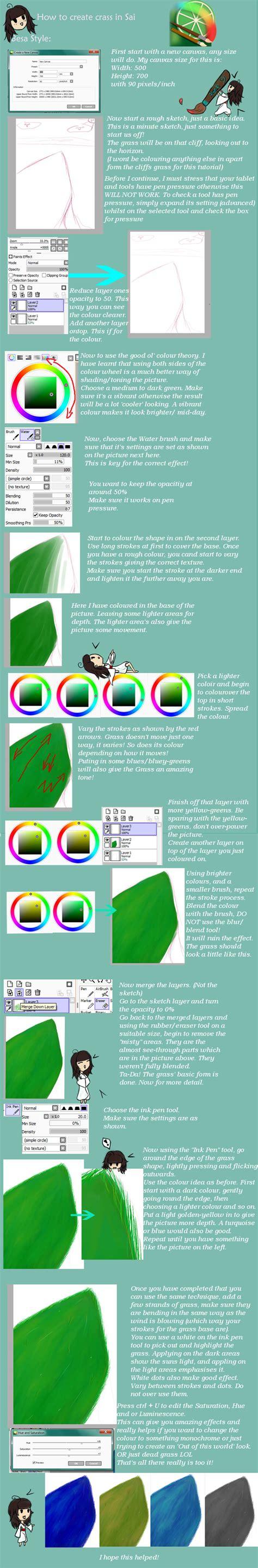 paint tool sai grass tutorial paint tool sai grass tutorial by besachan on deviantart
