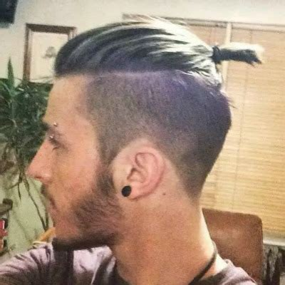 head shaved on sides with bun on top shaved male pics