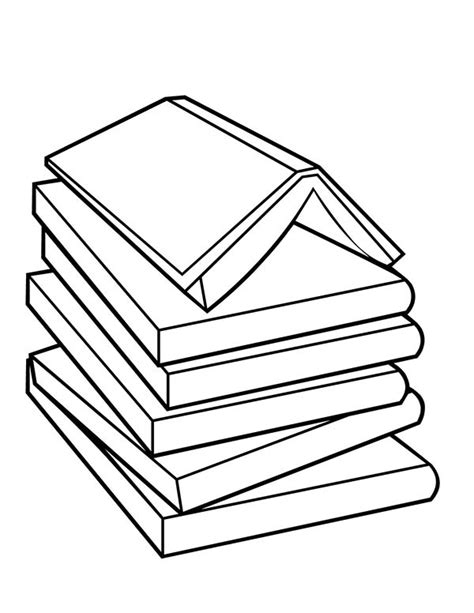 www coloring pages book for stack of books outline www imgkid the image kid