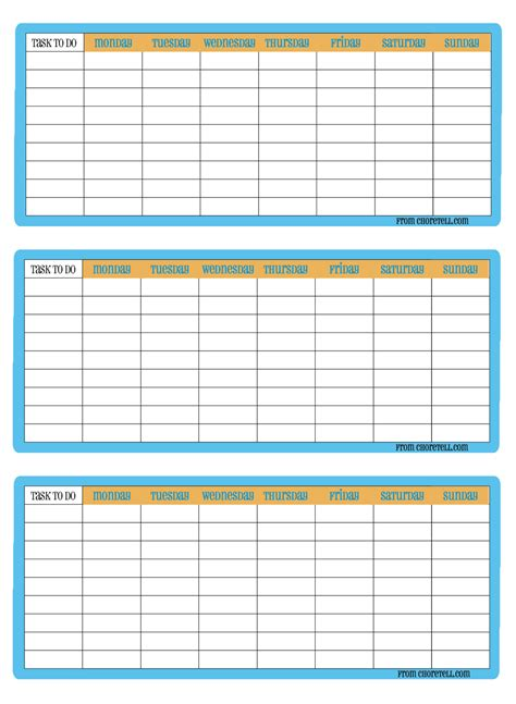 3 up printable weekly chore charts free printable