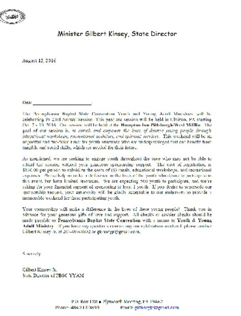 Excuse Letter For Retreat Pennsylvania Baptist State Convention Youth And