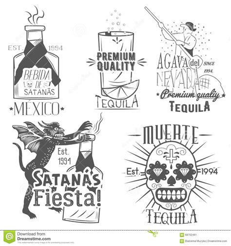 printable tequila label vector set of tequila labels in vintage style mexican