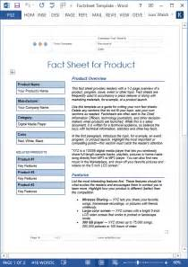 facts template fact sheet template ms word