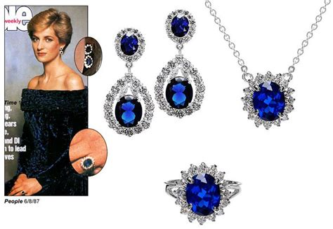 princess diana inspired faux sapphire and oval cz
