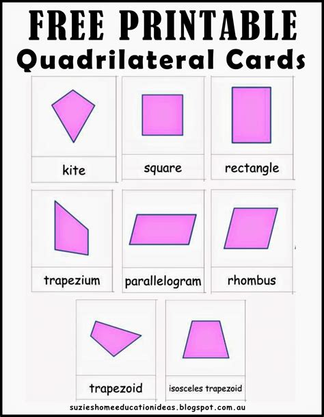 quadrilateral flashcards printable suzie s home education ideas learning about