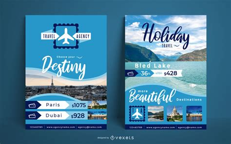 travel agency poster template vector