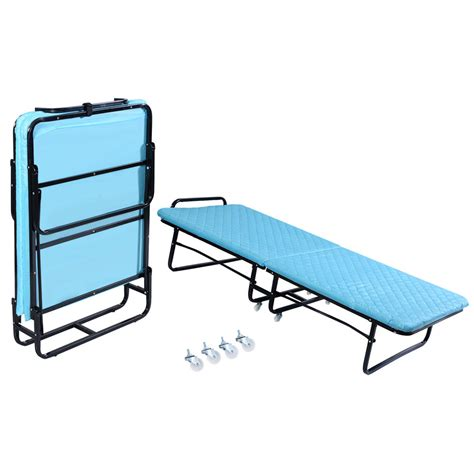 Folding Bed With Mattress Goplus Folding Bed Foam Mattress Roll Away Guest Portable Sleeper Cot Blue Ebay