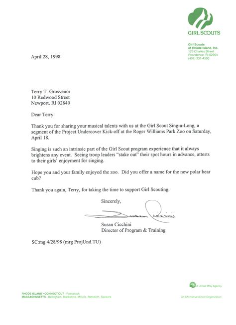Donation Letter For Scouts Scouts Terry Grosvenor Songs And Compositions