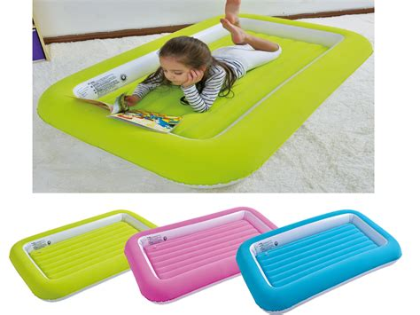 toddler inflatable bed kids childrens inflatable safety flocked kiddy air bed