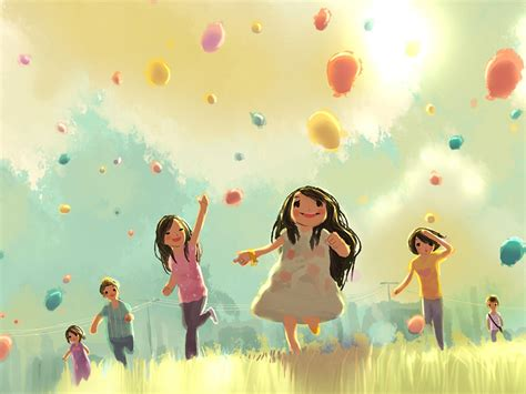 cute wallpapers for kids ap52 kids playing illustration art cute wallpaper