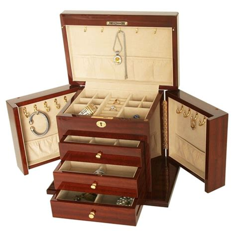 fully locking jewelry armoire large mahogany jewelry chest fully locking