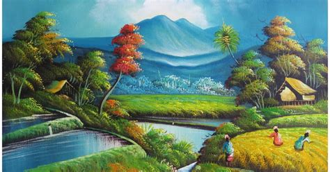 Lukisan H lukisan pemandangan galeri lukisan pemandangan sawah