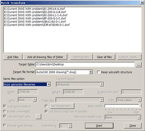 dwg format converter click menu bacth conversion select menu item dxf