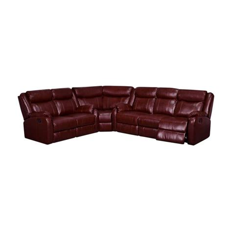 burgundy leather sectional global furniture usa faux leather reclining sectional in