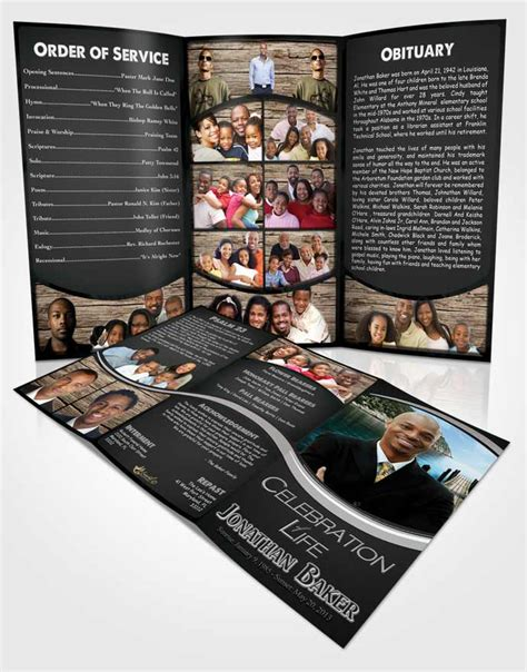 black brochure template obituary template trifold brochure black and white