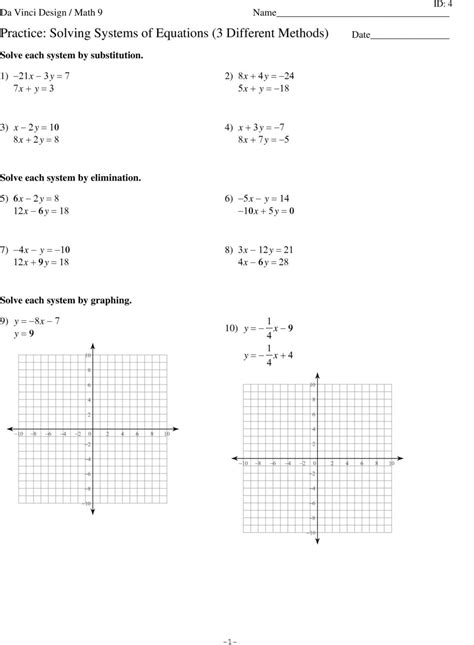 Solving System Of Equations By Graphing Worksheet by Solving Systems Of Linear Equations By Graphing Worksheet