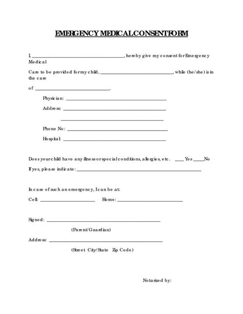 printable medical consent form emergency medical