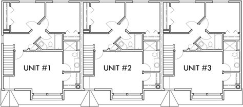 side garage floor plans triplex 3 bedroom 2 car garage side to side sloping lot