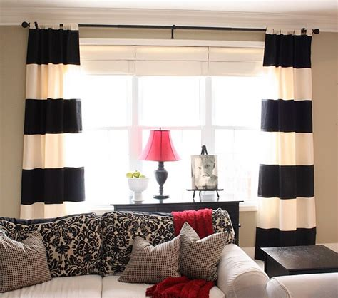 Black And White Striped Curtains Diy Black White Striped Curtains The Yellow Cape Cod The Inspired Room