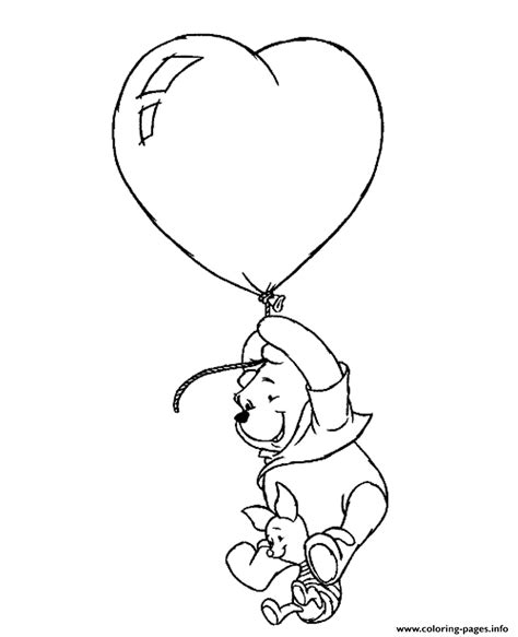 heart balloon coloring page winnie and piglet flying with heart balloon valentine