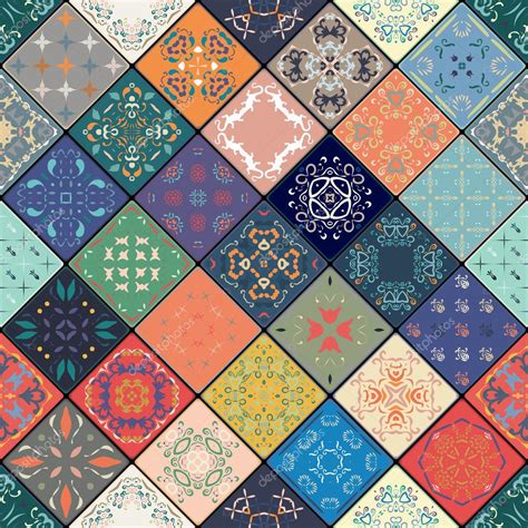 Square Colorful Chich Primrose luxury tile seamless pattern colorful floral patchwork background boho chic style
