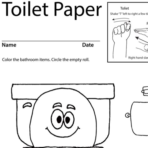 coloring sheet toilet paper asl teaching resources