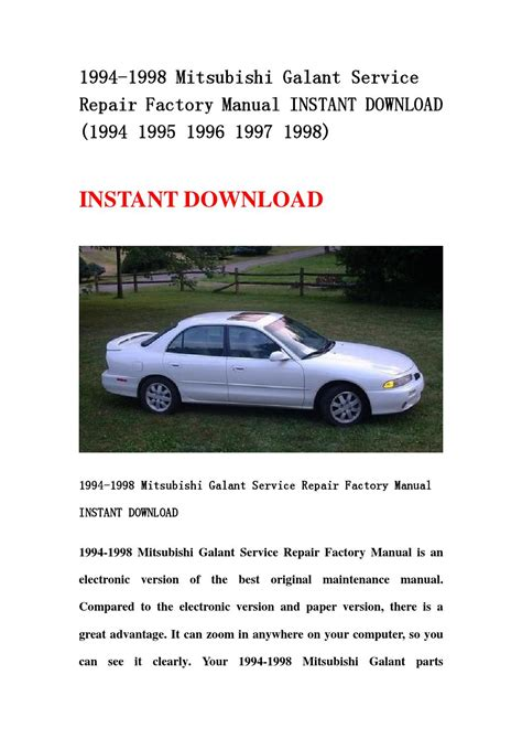 auto repair manual free download 1995 mitsubishi galant on board diagnostic system 1994 1998 mitsubishi galant service repair factory manual instant download 1994 1995 1996 1997