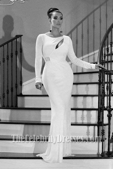 Kim Kardashian White Evening Dress Kardashian family Christmas card Gown - TheCelebrityDresses