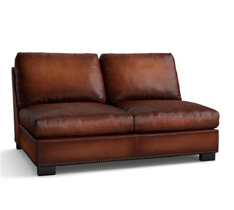 armless leather loveseat turner leather armless loveseat with nailhead pottery barn