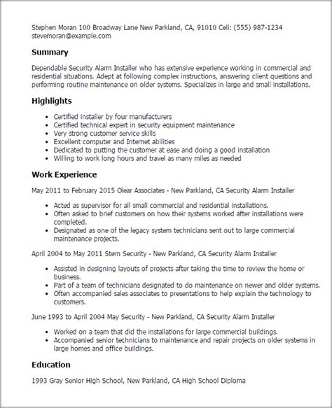 Security Alarm Installer Resume Template Best Design Tips Myperfectresume Alarm Installation Contract Template
