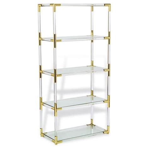 acrylic bookshelves cecil modern brass corner clear acrylic bookcase kathy kuo home