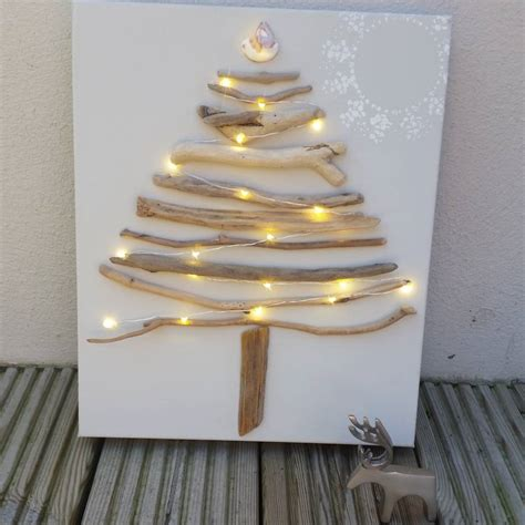 original driftwood christmas tree on canvas by sundaebest