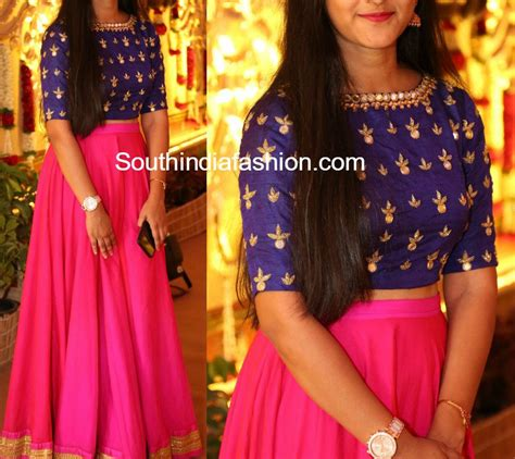 Long Skirt with Mirror Embroidered Crop Top –South India ...