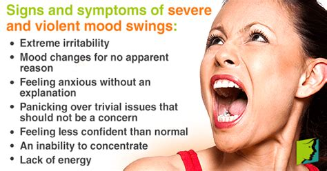 symptoms mood swings severe and violent mood swings