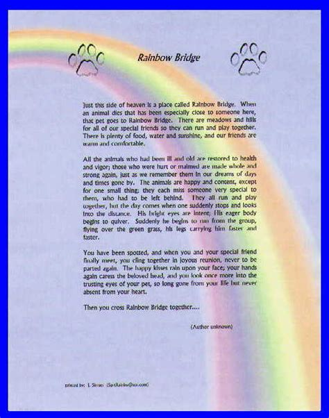 rainbow bridge poem rainbow bridge poem