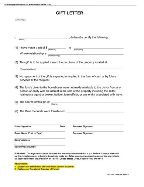 blank gift letter mortgage