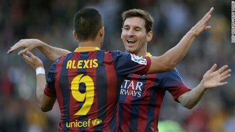 alexis sanchez on messi lionel messi breaks barcelona record cnn com
