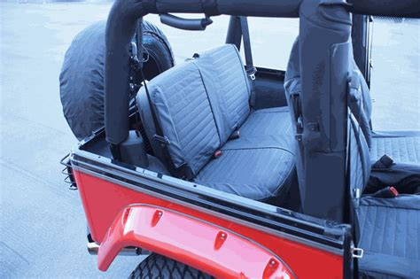 jeep tj rear seats all things jeep rage black denim rear seat covers for