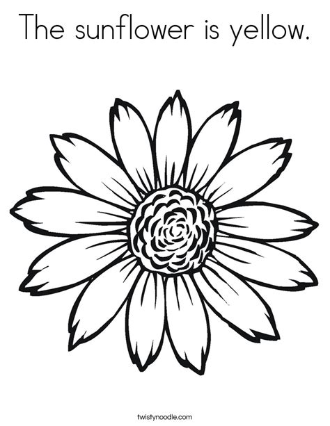 The Sunflower Is Yellow Coloring Page Twisty Noodle Sunflower Coloring Pages