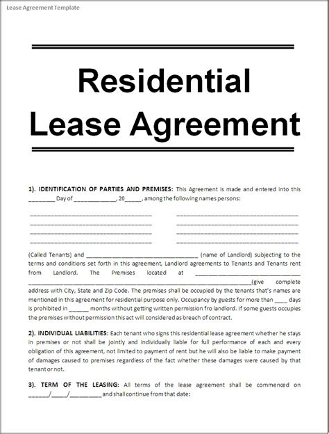 template of a lease agreement for a tenant lease agreement template real estate forms