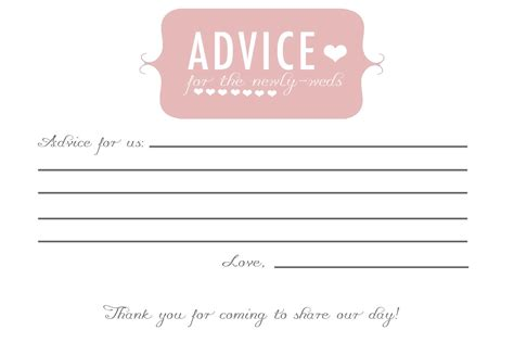 custom card template 187 bridal shower advice cards template