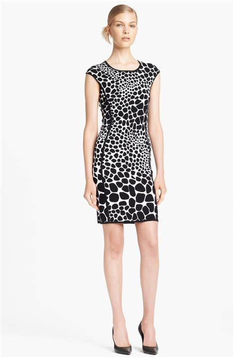 michael kors knit dress michael kors giraffe pattern knit dress in animal black