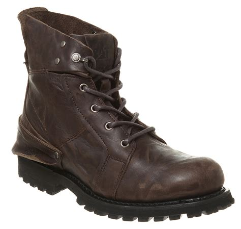 Sepatu Boots 394 mens caterpillar peril l hi boot brown leather boot ebay