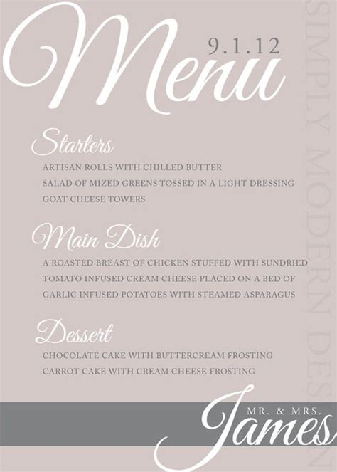 elegant dinner party menu ideas elegant and classy wedding dinner menu by