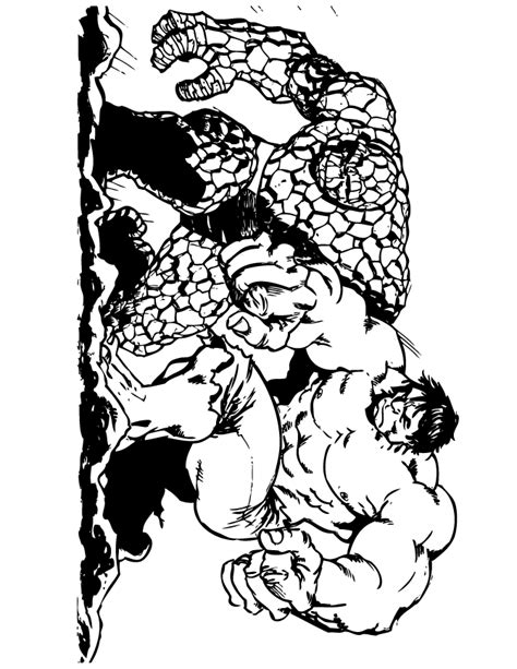The Thing And Incredible Hulk Coloring Page H M The Thing Coloring Pages