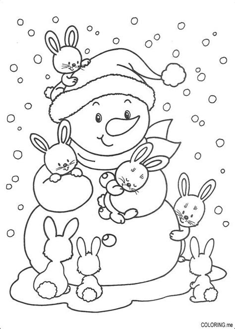 winter rabbit coloring page coloring page christmas snowman and rabbits coloring me
