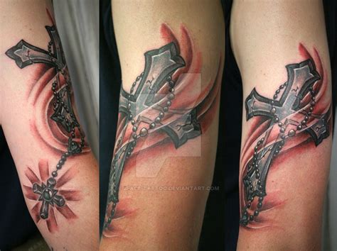 Cross Shine Rosary Tattoo By 2face Tattoo On Deviantart Croos And Rosary Tattoos